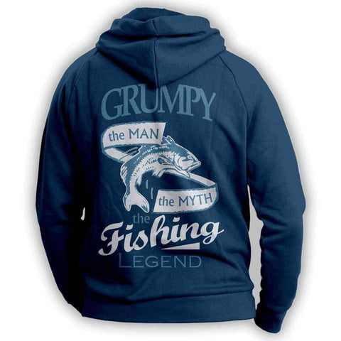 """Grumpy, The Man, The Myth, The Fishing Legend"" Hoodie"