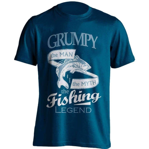 "Image of ""Grumpy, The Man, The Myth, The Fishing Legend"" T-Shirt - OutdoorsAdventurer"