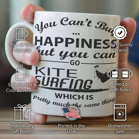 """You Can't Buy Happiness But You Can Go Kite Surfing"" Mug"