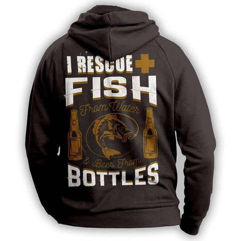 """I Rescue Fish From Water And Beer From Bottles"" Hoodie"