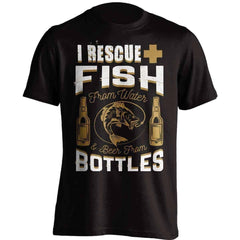 """I Rescue Fish From Water And Beer From Bottles"" T-Shirt"
