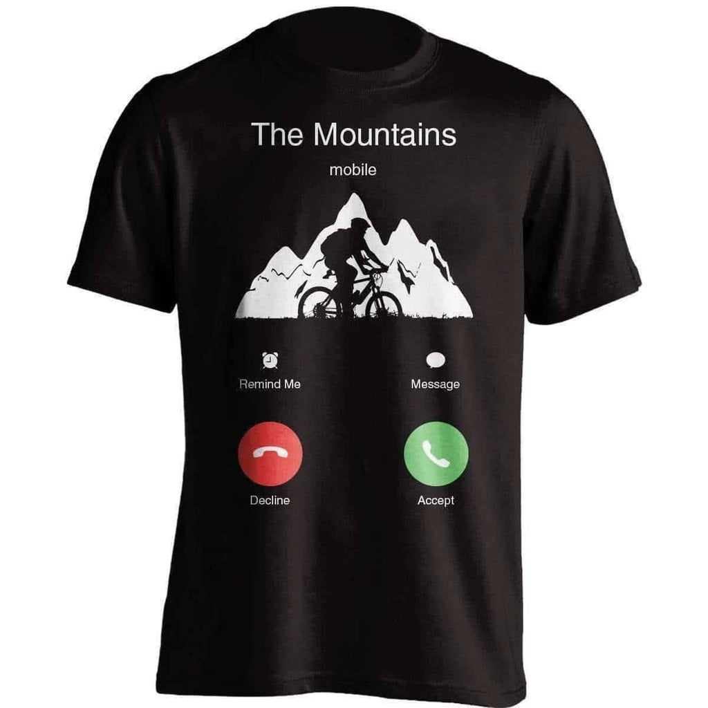 The Mountains Mobile Mountain Biking T Shirt Outdoorsadventurer