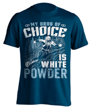 "Load image into Gallery viewer, ""My Drug Of Choice Is White Powder'' Snowboarding T-Shirt - OutdoorsAdventurer"
