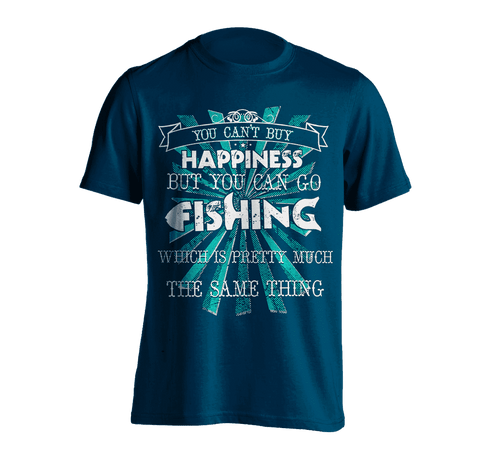 Image of You Can't Buy Happiness, But You Can Go Fishing T-Shirt NAVY