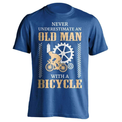 "Image of ""Never Underestimate An Old Man..."" Bicycle T-Shirt"