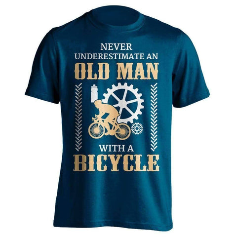 "Image of ""Never Underestimate An Old Man..."" Bicycle T-Shirt - OutdoorsAdventurer"