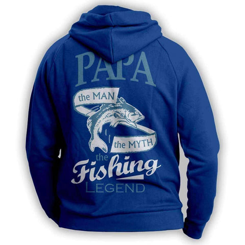 """Papa, The Man, The Myth, The Fishing Legend""  Hoodie - OutdoorsAdventurer"