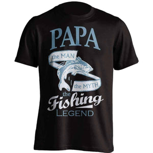 """Papa, The Man, The Myth, The Fishing Legend"" T-Shirt - OutdoorsAdventurer"
