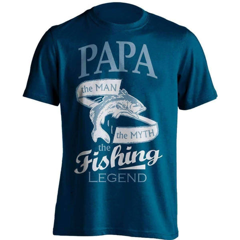 "Image of ""Papa, The Man, The Myth, The Fishing Legend"" T-Shirt - OutdoorsAdventurer"