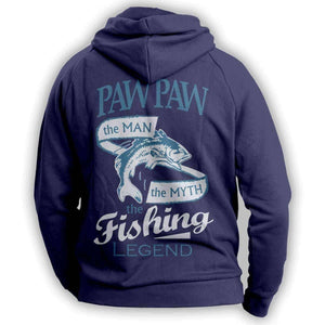"""Paw Paw, The Man, The Myth, The Fishing Legend""  Hoodie - OutdoorsAdventurer"