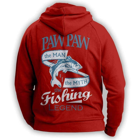 "Image of ""Paw Paw, The Man, The Myth, The Fishing Legend""  Hoodie - OutdoorsAdventurer"