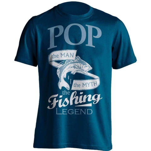 "Image of ""Pop, The Man, The Myth, The Fishing Legend"" T-Shirt - OutdoorsAdventurer"