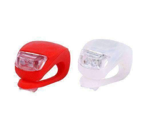Ultra Bright Waterproof SILICON LED BIKE LIGHT SET 2LED Front + Rear Safety Light