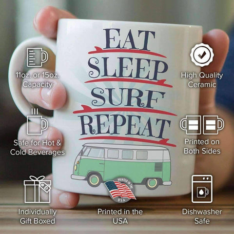 "Image of ""Eat Sleep Surf Repeat"" Surfing Mug"