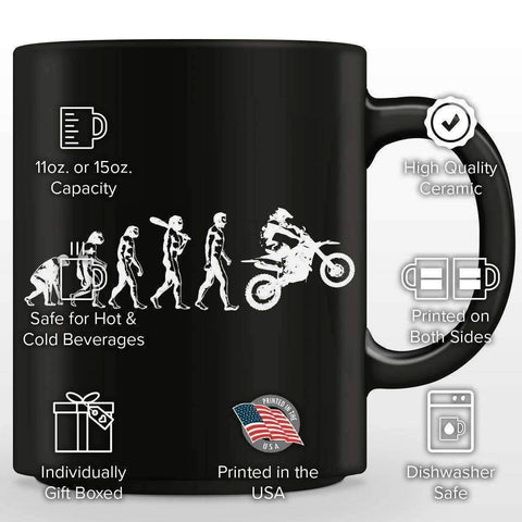 Funny Human Evolution Dirt Bike Mug