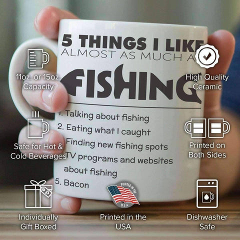 Image of 5 Things I Like Almost As Much As Fishing Mug - OutdoorsAdventurer