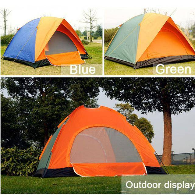 4 person Windproof Waterproof Anti UV Double Layer Tent  double door  tent Double Layer Outdoor Camping Hike Travel Play Tent