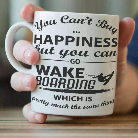"""You Can't Buy Happiness But You Can Go Wakeboarding"" Mug - OutdoorsAdventurer"