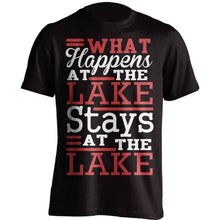 "Load image into Gallery viewer, ""What Happens At The Lake"" Youth's Fishing T-Shirt - OutdoorsAdventurer"
