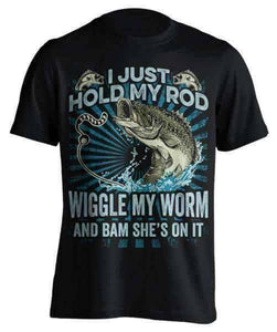"""I Just Hold My Rod"" Fishing T-Shirt - OutdoorsAdventurer"