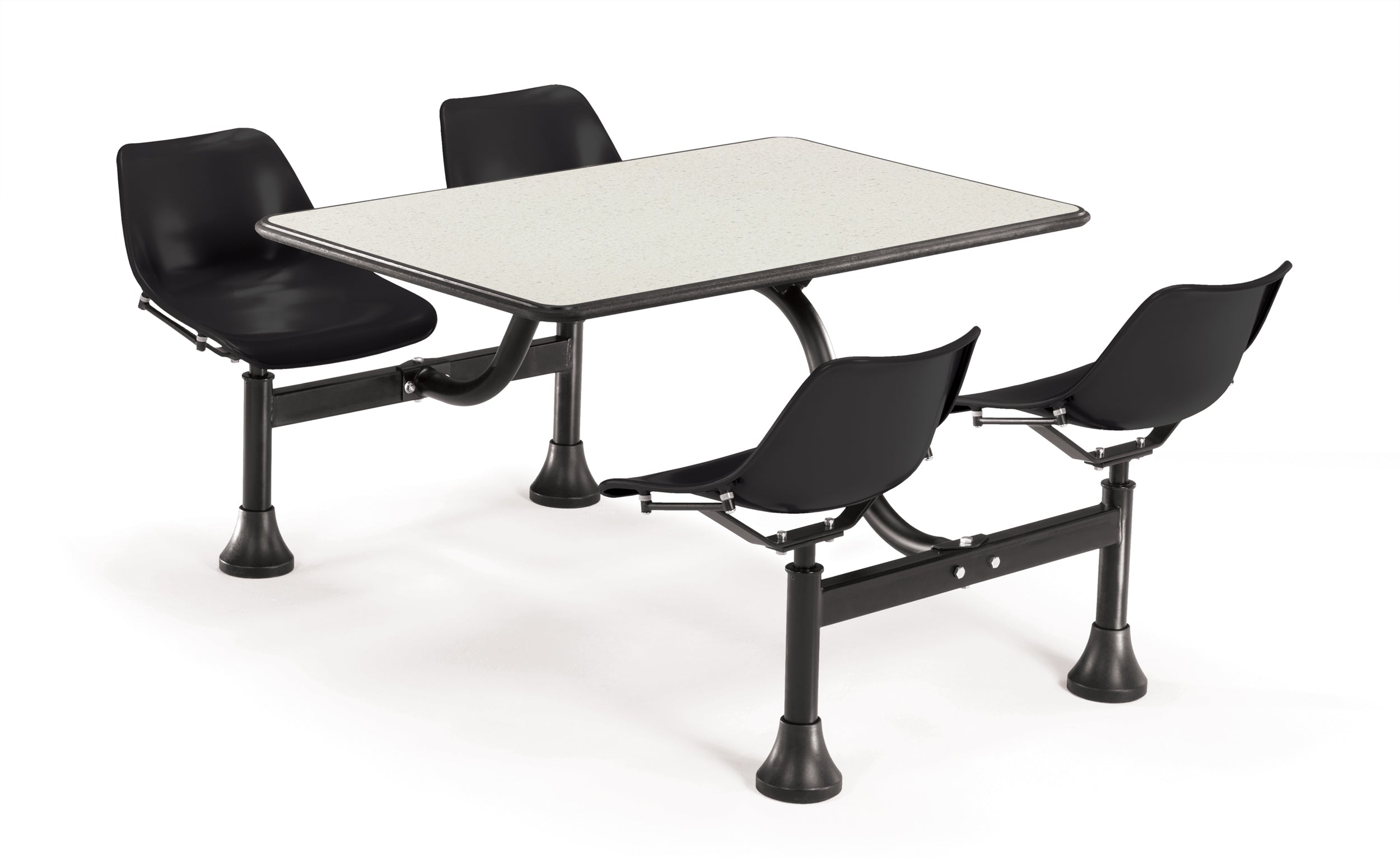 Model 1002 Cluster Table & Chairs Black Seat 24 Inch x 48 Inch Top