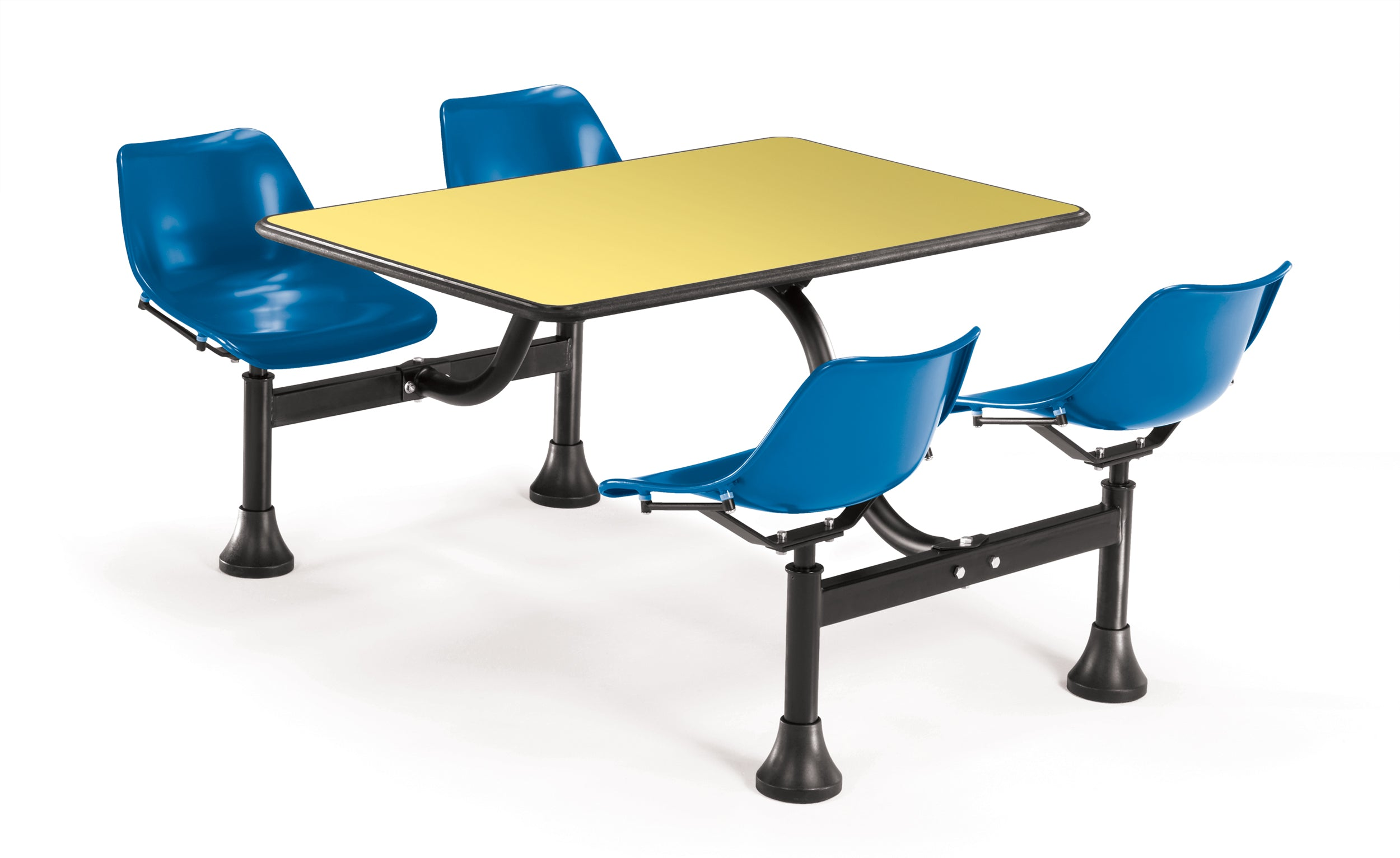 Model 1002 Cluster Table & Chairs Blue Seat 24 Inch x 48 Inch Top