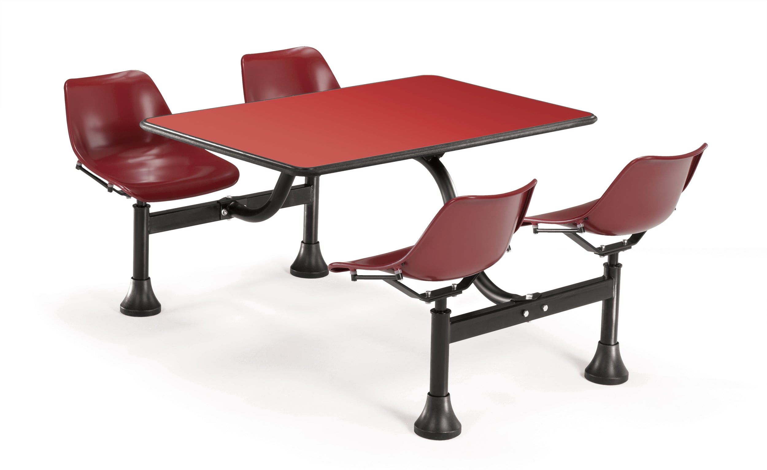 Model 1002 Cluster Table & Chairs Maroon Seat 24 Inch x 48 Inch Top