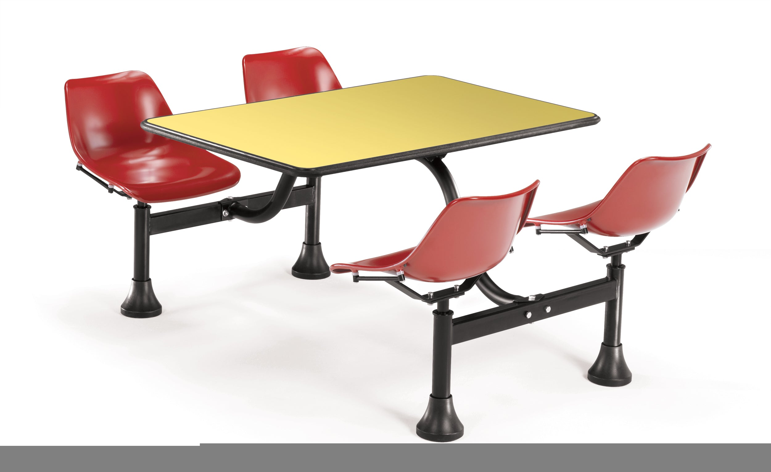 Model 1002 Cluster Table & Chairs Red Seat 24 Inch x 48 Inch Top
