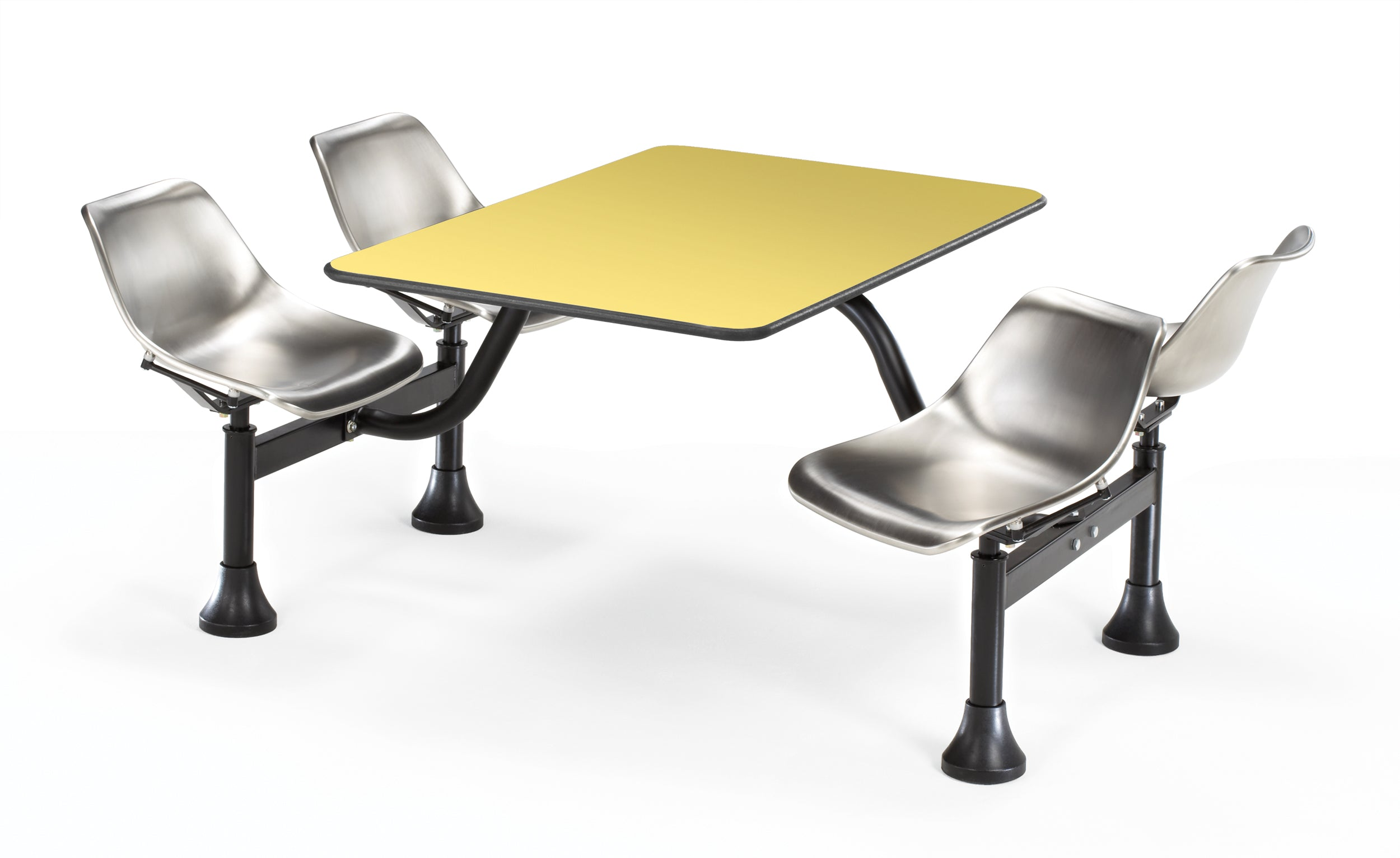 1002-SS Cluster Table & Chairs stainless steel Seat 24 In x 48 In Top