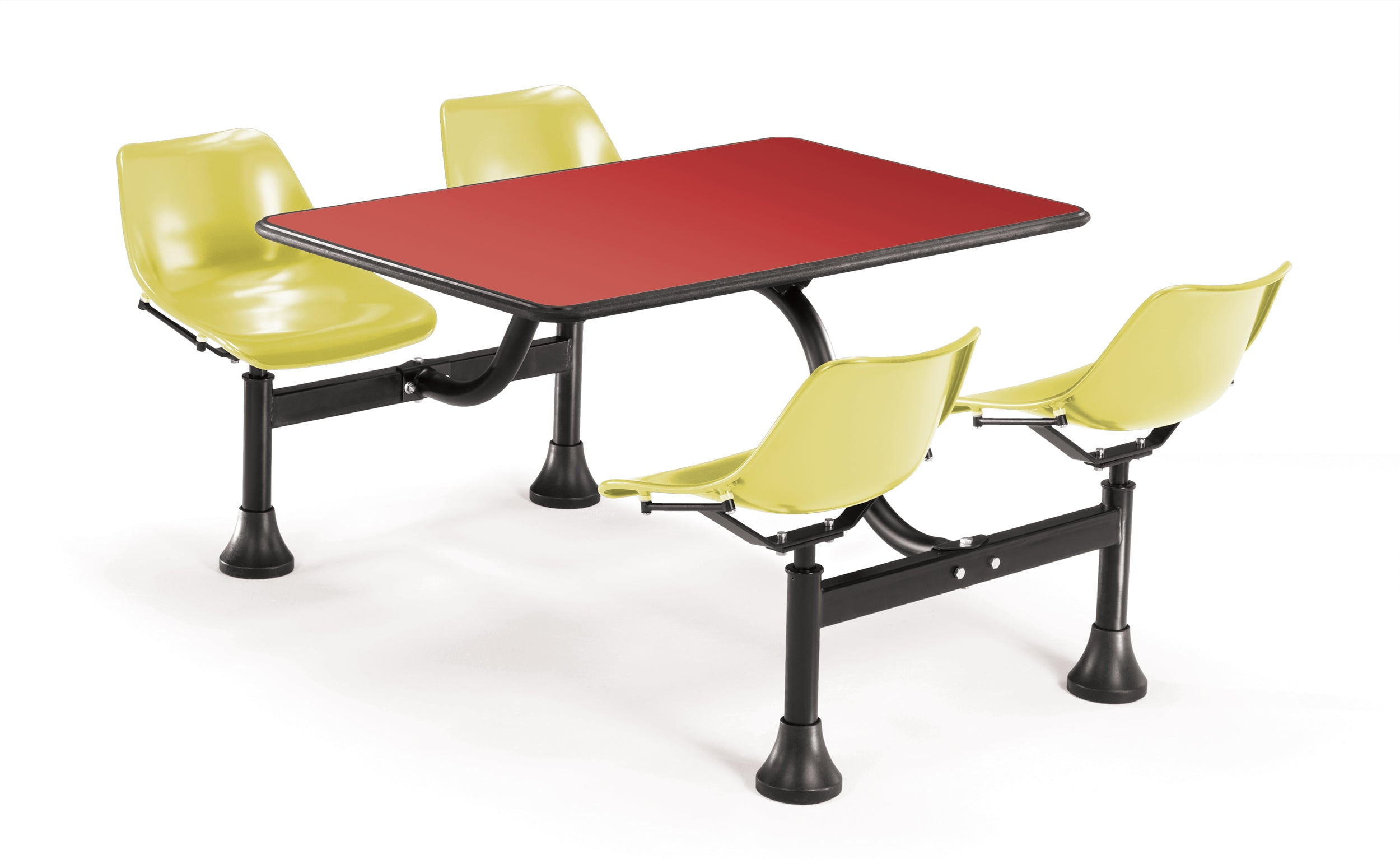 Model 1002 Cluster Table & Chairs Yellow Seat 24 Inch x 48 Inch Top
