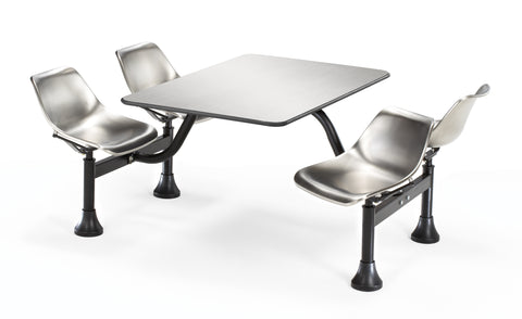 "Model 1004-SS Cluster Table & Chairs 24"" x 48"" Stainless Steel Top"
