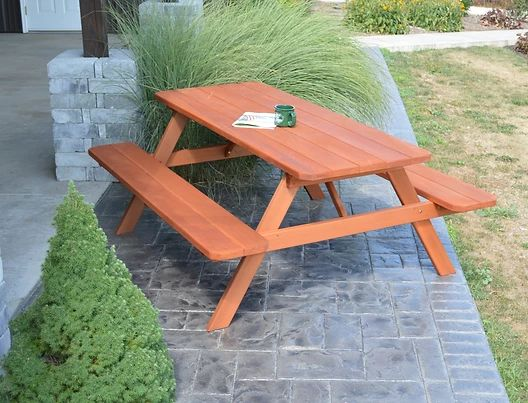 Outdoor Garden Furniture Table With Attached Benches-Specify for FREE 2 Inch Umbrella Hole Made In USA