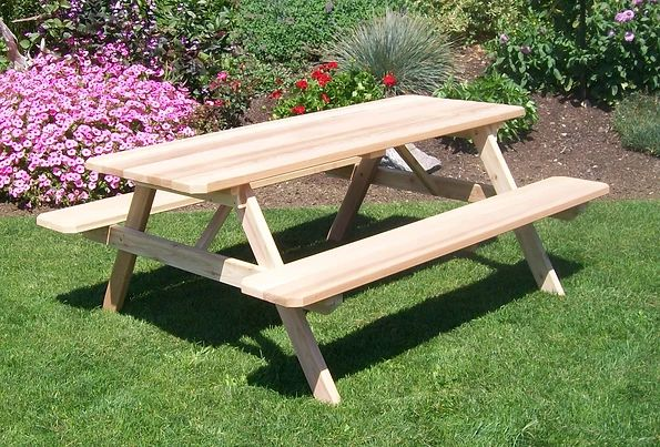Outdoor Garden Furniture Table With Attached Benches