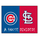 "MLB House Divided - Cubs / Cardinals House Divided Mat 33.75""x42.5"""