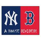 "MLB House Divided - Yankees / Red Sox  House Divided Mat 33.75""x42.5"""