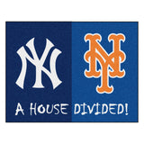 "MLB House Divided - Yankees / Mets  House Divided Mat 33.75""x42.5"""