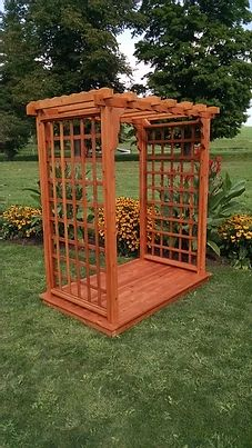 4 Ft Lexington Handcrafted Patio Porch Outdoor Garden Cedar Arbor & Deck Made In USA