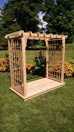 4 Ft Lexington Handcrafted Patio Porch Outdoor Garden Cedar Arbor & Deck