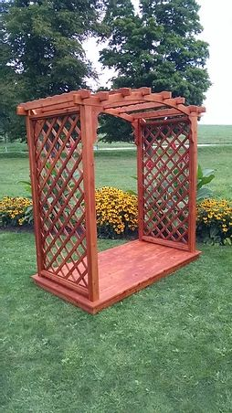 4 Ft Jamesport Handcrafted Patio Porch Outdoor Garden Cedar Arbor & Deck