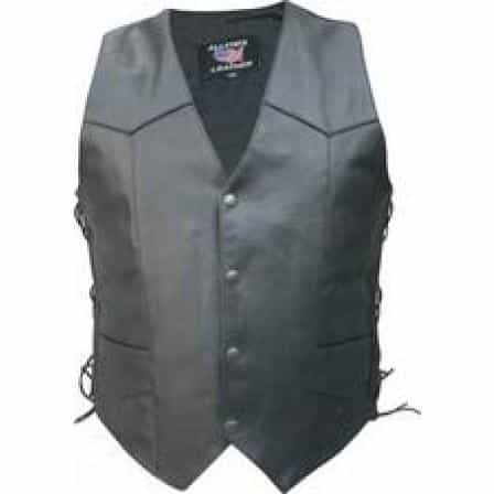 bedinhome - AL2215 Men's Tall Basic Side Laces Buffalo Leather 2 front 2 inside pockets Black Hardware Vest - All State Leather - Men's Leather Vest