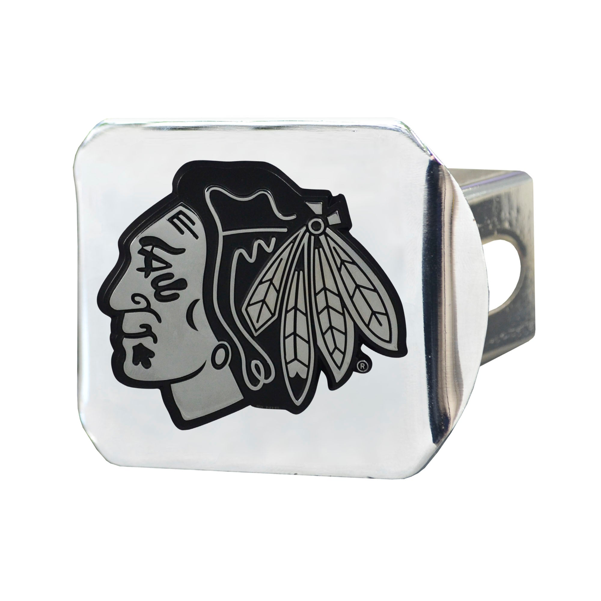 "NHL - Chicago Blackhawks Hitch Cover - Chrome on Chrome 3.4""x4"""