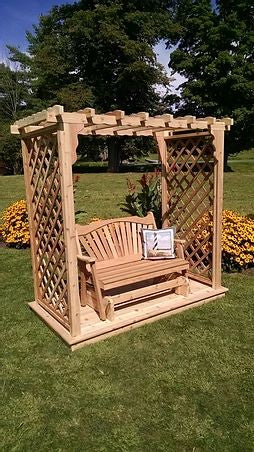 5 Ft Covington Handcrafted Patio Porch Outdoor Garden Cedar Arbor With Deck & Glider