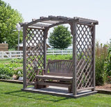 5 Ft Jamesport Handcrafted Patio Porch Outdoor Garden Cedar Arbor With Deck & Glider