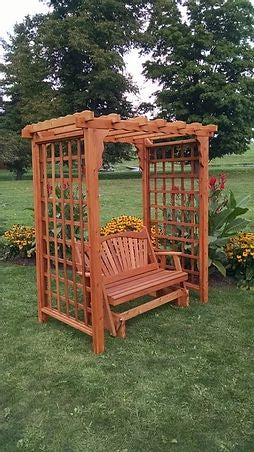 5 Ft Lexington Handcrafted Patio Porch Outdoor Garden Cedar Arbor With Glider