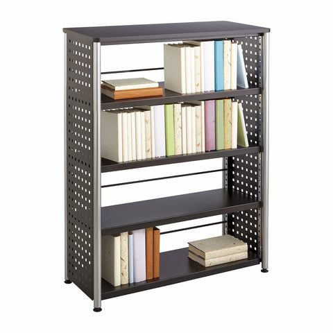 bedinhome - 1603BL Scoot™ Office Library 77 Lbs Weight Capacity Unique Hole Pattern Design Perforated Steel 4 Shelf Black Bookcase - Safco - Bookcases
