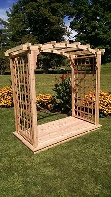 6 Ft Cambridge Handcrafted Patio Porch Outdoor Garden Cedar Arbor & Deck