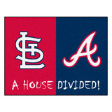 "MLB House Divided - Cardinals / Braves House Divided Mat 33.75""x42.5"""