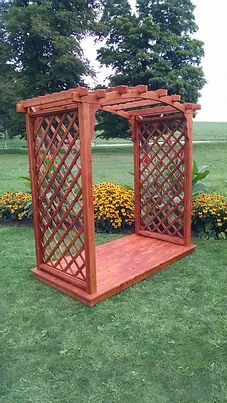 6 Ft Jamesport Handcrafted Patio Porch Outdoor Garden Cedar Arbor & Deck