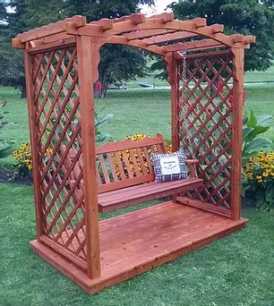 6 Ft Jamesport Handcrafted Patio Porch Outdoor Garden Cedar Arbor With Deck & Swing