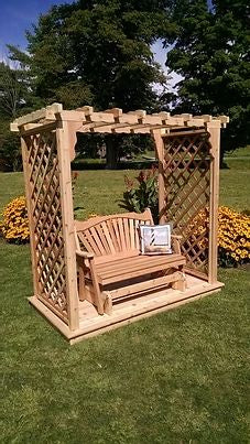 6 Ft Covington Handcrafted Patio Porch Outdoor Garden Cedar Arbor With Deck & Glider